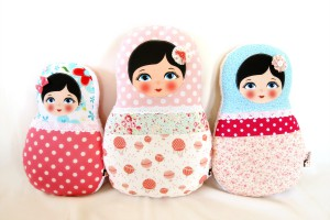 Various sized adorable Babushka Matryoshka fabric dolls / pillows / plushies, from extra large to tiny.