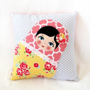 Toola Pillows and blankets, Babushka Matryoshka home decor products.