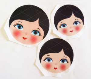 Babushka Matryoshka DIY Cloth/Fabric Face, in various sizes. Washable fabric, to sew on your doll plush or pillow.